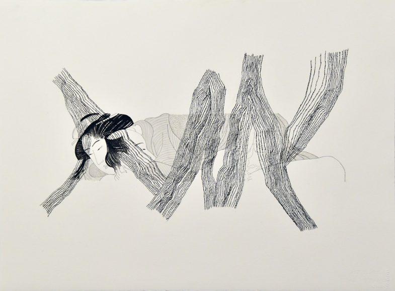 内田 江美 Emi UCHIDA_ Lovers-2_ Printmaking,Pencil_ 76.5×56cm _2011_m
