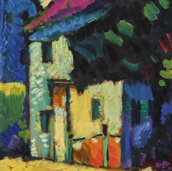 Kandinsky, Murnau – Landscape with Green House, 1909-details-01