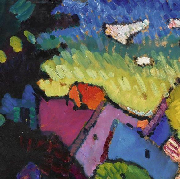 Kandinsky, Murnau – Landscape with Green House, 1909-details-02