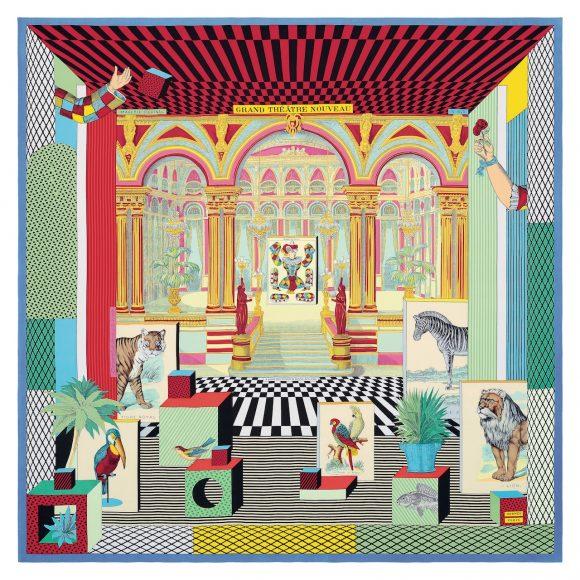 """33 斜纹真丝""""新型大剧院(Grand Théâtre Nouveau)""""90厘米方巾"""