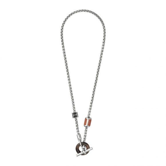 54 镀钯金属、漆面、水牛角配Swift小牛皮吊坠项链