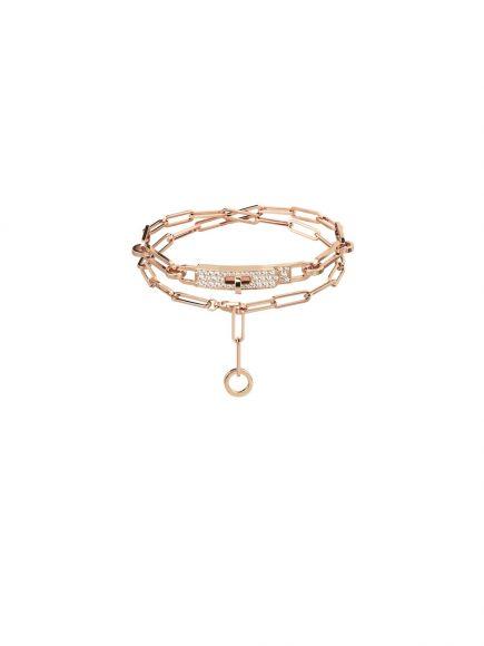 78 Kelly Chaîne玫瑰金镶钻双圈手链