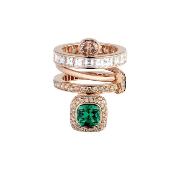 80-1 Grand Jeté玫瑰金三圈戒指,饰祖母绿、褐色钻石和白色钻石