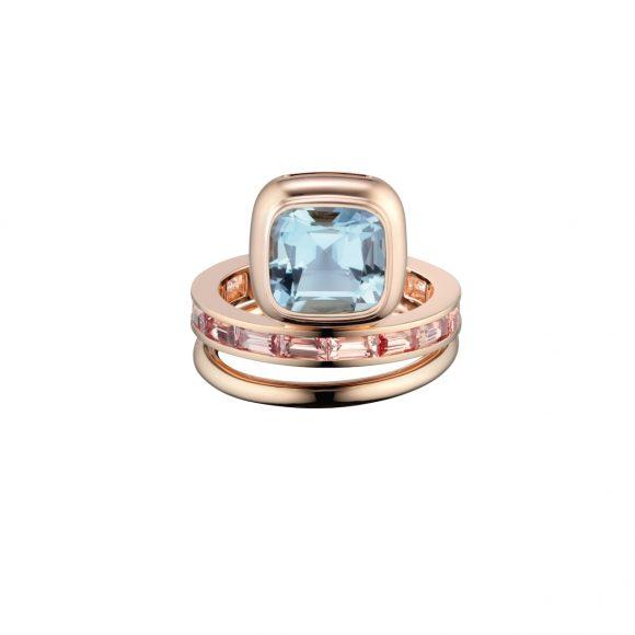 80-2 Grand Jeté玫瑰金双圈戒指,饰海蓝宝石和褐色蓝宝石