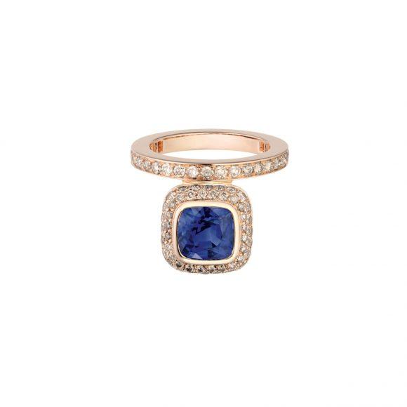 80-3 Grand Jeté玫瑰金单圈戒指,饰蓝宝石和钻石
