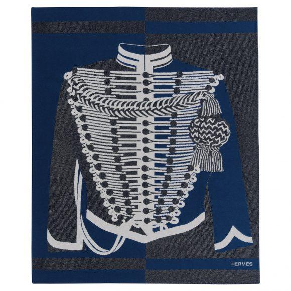 90 Brandebourgs羊毛羊绒混纺提花毛毯
